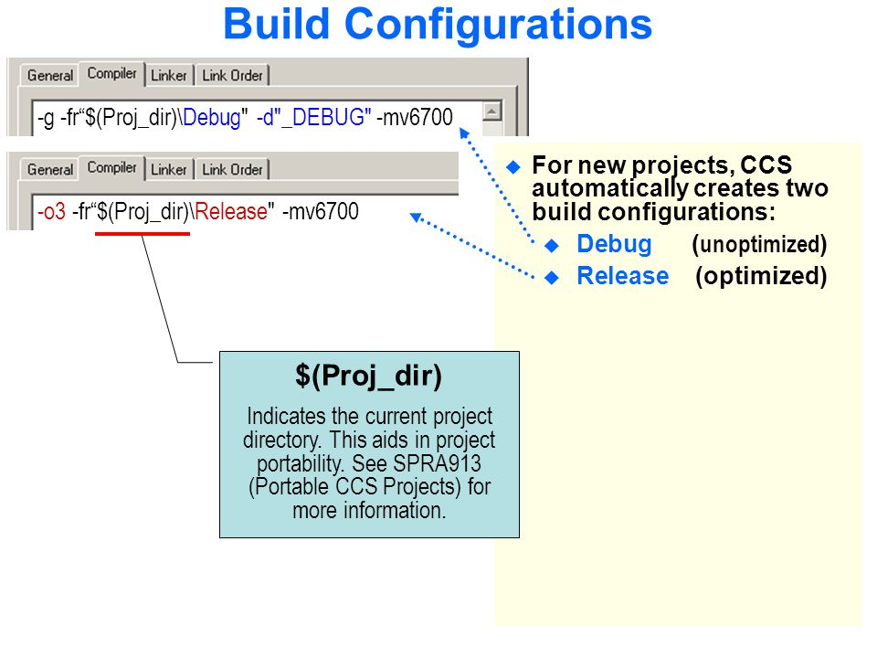 Build Configurations  For new projects, CCS automatically creates two build configurations:  Debug ( unoptimized )  Release (optimized) -g -fr $(Proj_dir)\Debug -d _DEBUG -mv6700-o3 -fr $(Proj_dir)\Release -mv6700 $(Proj_dir) Indicates the current project directory.
