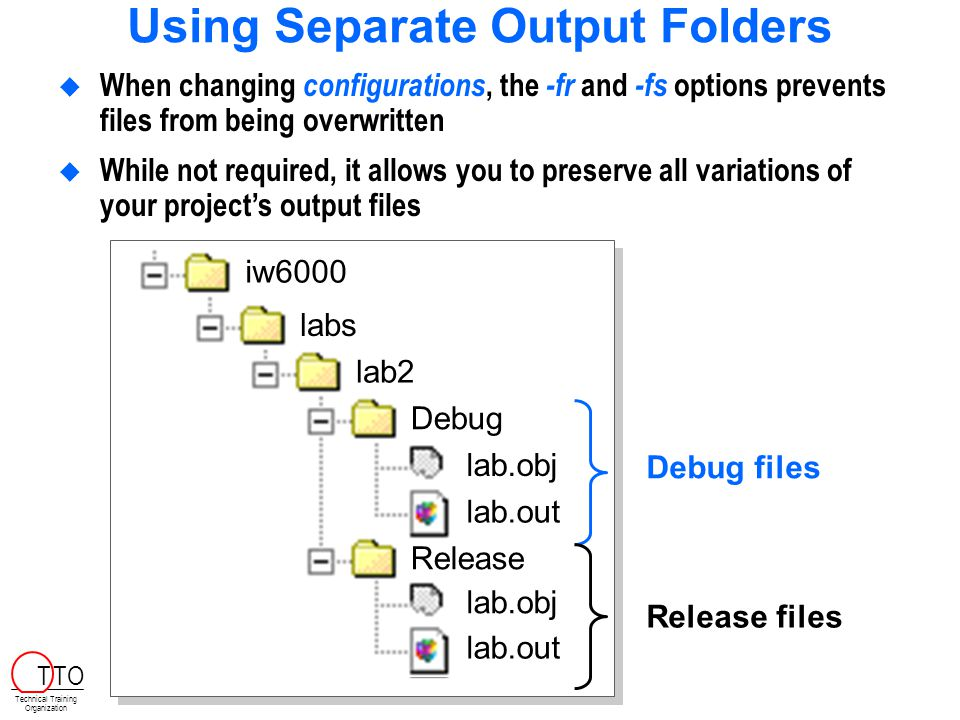 Using Separate Output Folders  When changing configurations, the -fr and -fs options prevents files from being overwritten  While not required, it allows you to preserve all variations of your project's output files c60001day iw6000 labs lab2 Debug lab.out lab.obj Release lab.out lab.obj Debug files Release files Technical Training Organization T TO