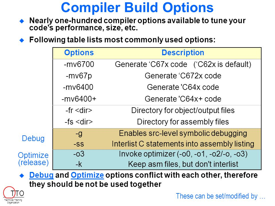 Outline Code Composer Studio (CCS) Projects Build Options Build Configurations Configuration Tool  C – Data Types and Header Files  Lab 2 Technical Training Organization T TO