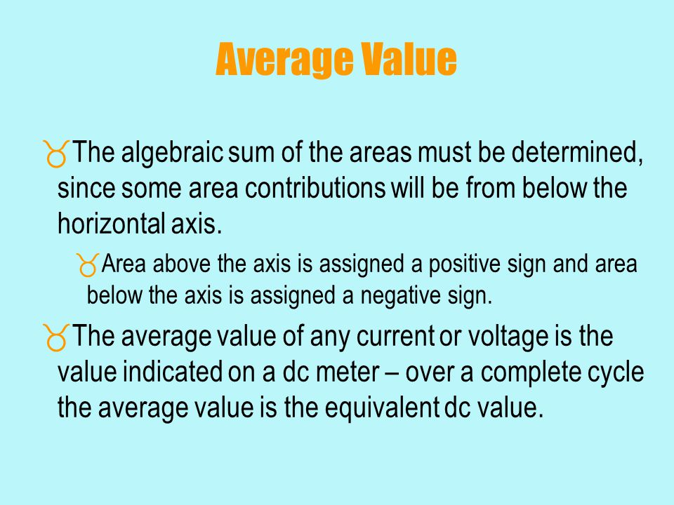 Average Value  The algebraic sum of the areas must be determined, since some area contributions will be from below the horizontal axis.  Area above