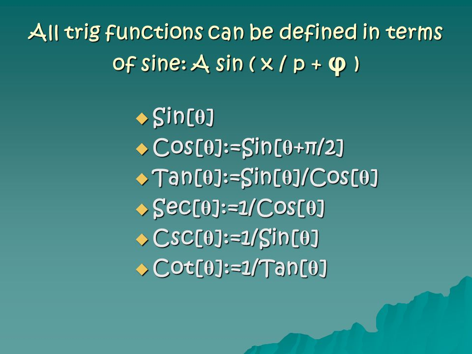 All trig functions can be defined in terms of sine: A sin ( x / p + φ )  Sin[ θ ]  Cos[ θ ]:=Sin[ θ +π/2]  Tan[ θ ]:=Sin[ θ ]/Cos[ θ ]  Sec[ θ ]:=1/Cos[ θ ]  Csc[ θ ]:=1/Sin[ θ ]  Cot[ θ ]:=1/Tan[ θ ]