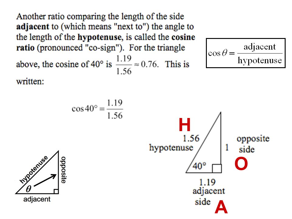 a.Can the Pythagorean theorem be used to find the opposite and adjacent side.