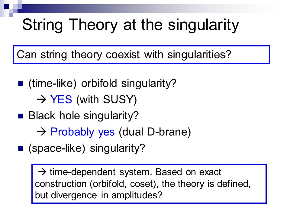 String Theory at the singularity (time-like) orbifold singularity.