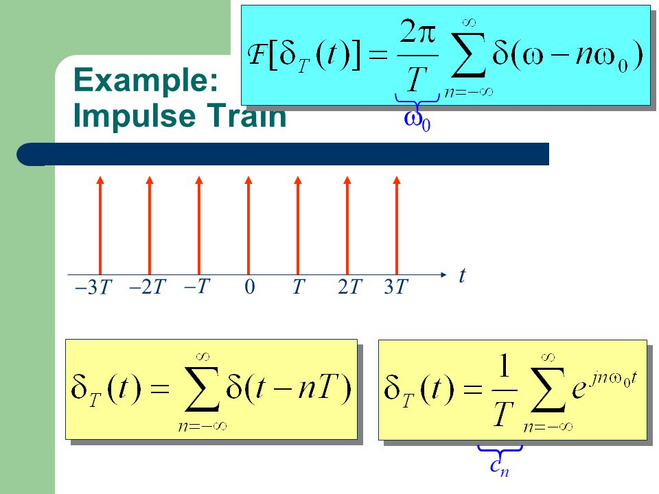 Example: Impulse Train 0 t T2T2T3T3T TT 2T2T 3T3T Find the FT of the impulse train. cncn 00