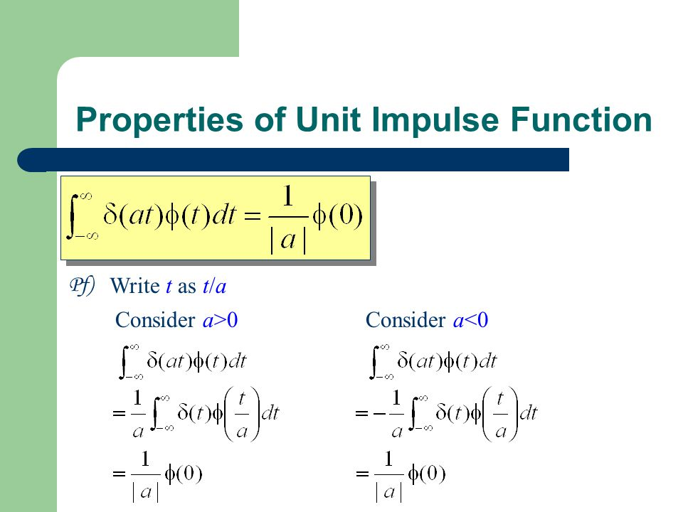 Properties of Unit Impulse Function Pf) Write t as t/a Consider a>0Consider a<0