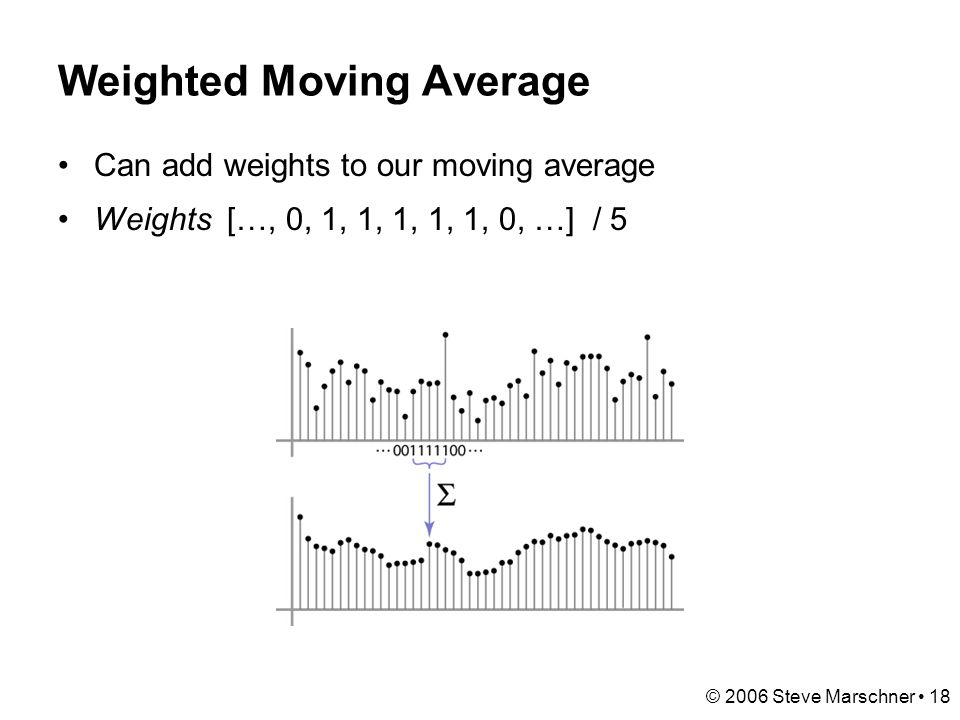 © 2006 Steve Marschner 18 Weighted Moving Average Can add weights to our moving average Weights […, 0, 1, 1, 1, 1, 1, 0, …] / 5