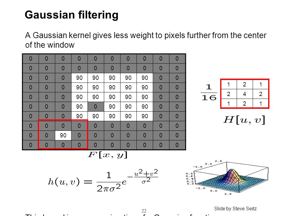 22 Gaussian filtering A Gaussian kernel gives less weight to pixels further from the center of the window This kernel is an approximation of a Gaussian function: 0000000000 0000000000 00090 00 000 00 000 00 000 0 00 000 00 0000000000 00 0000000 0000000000 121 242 121 Slide by Steve Seitz
