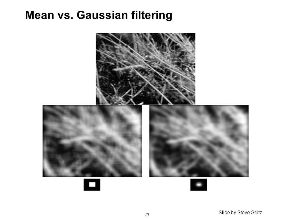 23 Mean vs. Gaussian filtering Slide by Steve Seitz