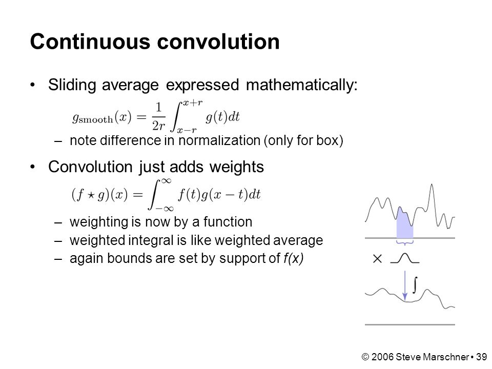 © 2006 Steve Marschner 39 Continuous convolution Sliding average expressed mathematically: –note difference in normalization (only for box) Convolution just adds weights –weighting is now by a function –weighted integral is like weighted average –again bounds are set by support of f(x)