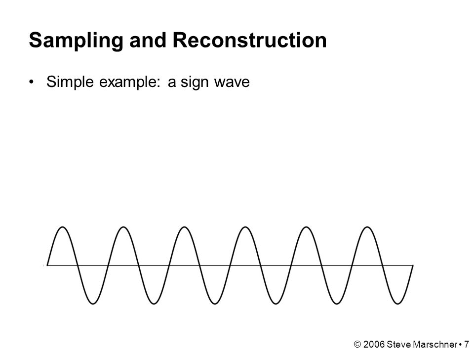 © 2006 Steve Marschner 38 Continuous convolution: warm-up Can apply sliding-window average to a continuous function just as well –output is continuous –integration replaces summation