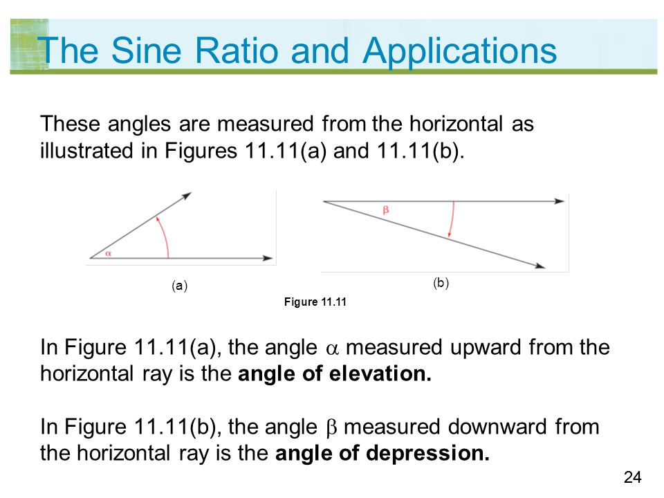 24 The Sine Ratio and Applications These angles are measured from the horizontal as illustrated in Figures 11.11(a) and 11.11(b).