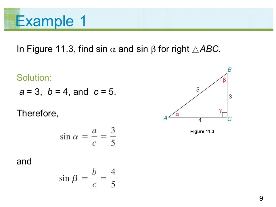 20 Example 4 – Solution sin 15° = From the table, we have sin 15° = 0.2588.