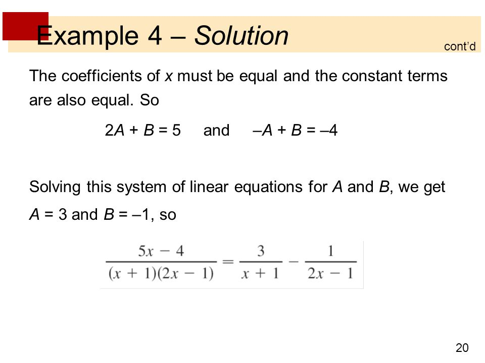 20 Example 4 – Solution The coefficients of x must be equal and the constant terms are also equal.