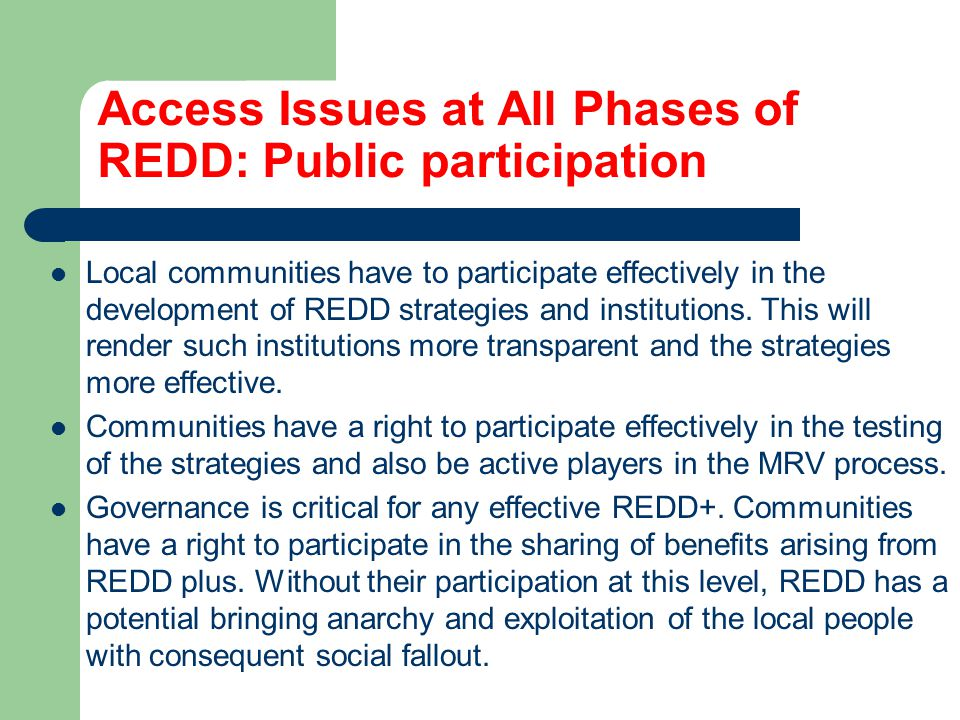 Access Issues at All Phases of REDD: Public participation Local communities have to participate effectively in the development of REDD strategies and institutions.