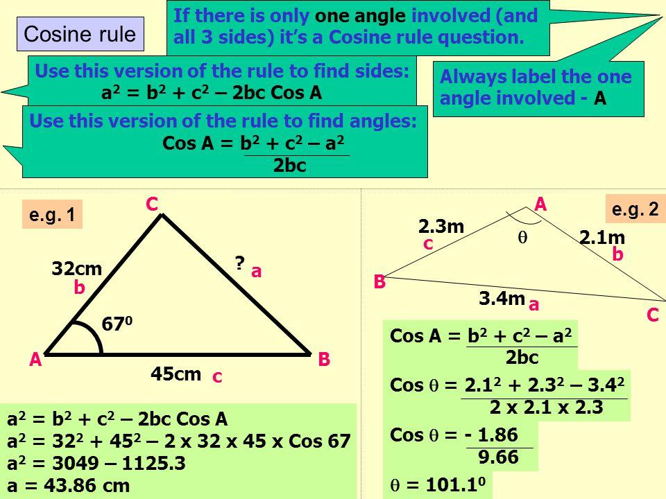 Sine rule  62 0 7m 23m A C B c b a Sin A = Sin B = Sin C a b c Sin  = Sin 62 x 7 23 Sin  = 0.2687  = 15.6 0 Sin  = Sin B = Sin 62 7 b 23 If there
