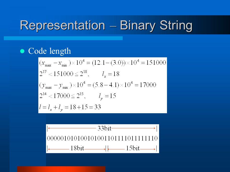 Representation – Binary String Code length