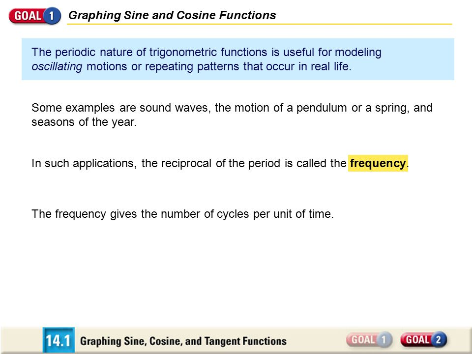 Graphing Sine and Cosine Functions The periodic nature of trigonometric functions is useful for modeling oscillating motions or repeating patterns tha