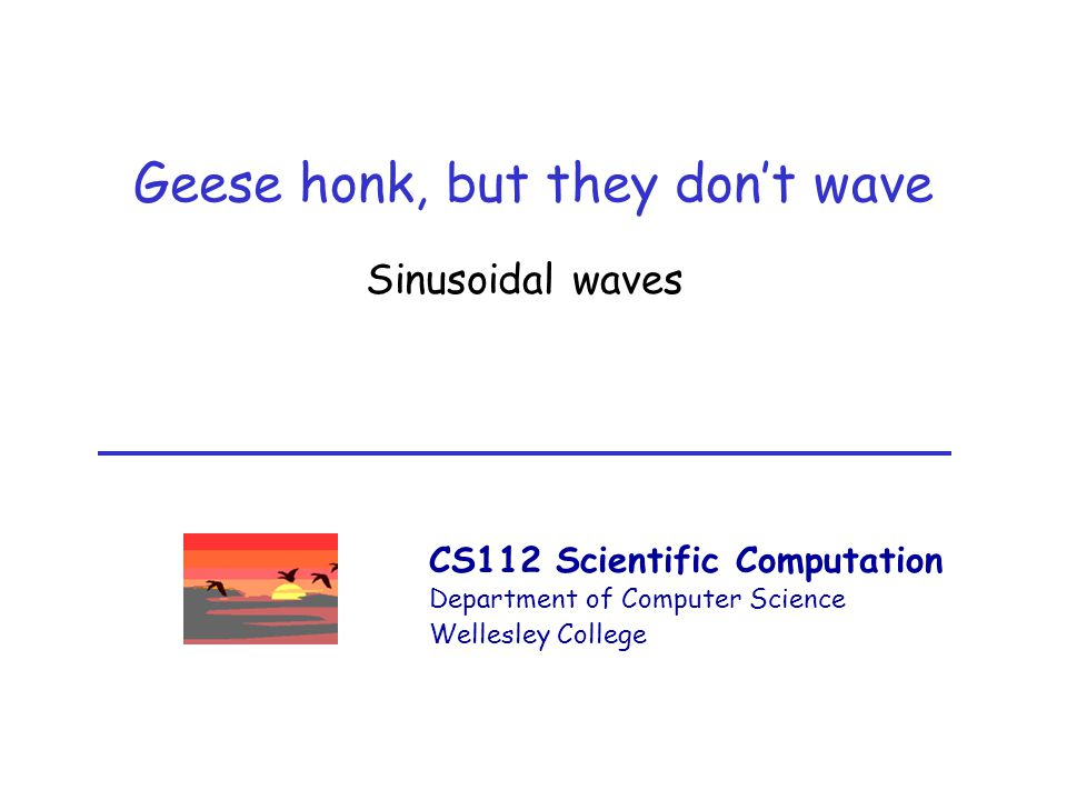 CS112 Scientific Computation Department of Computer Science Wellesley College Geese honk, but they don't wave Sinusoidal waves