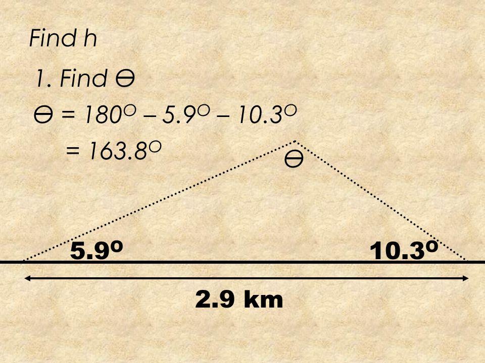 5.9 O 10.3 O 2.9 km Find h h
