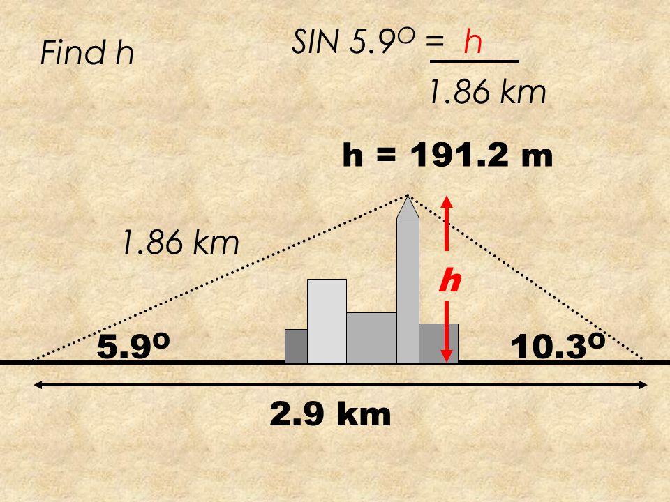 5.9 O 10.3 O 2.9 km 163.8 O Find X X X SIN 10.3 O 2.9 SIN163.8 O = X = 1.86km