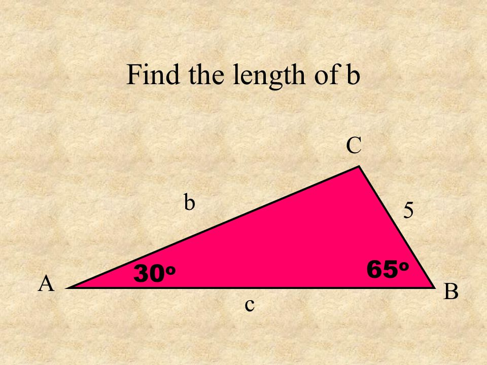 Find the length of b A C B c b 5 30 o 65 o