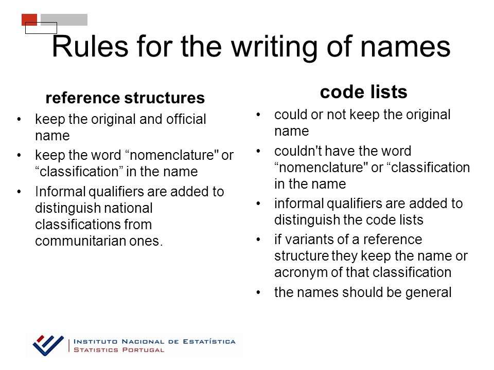 Rules for the writing of names reference structures keep the original and official name keep the word nomenclature or classification in the name Informal qualifiers are added to distinguish national classifications from communitarian ones.