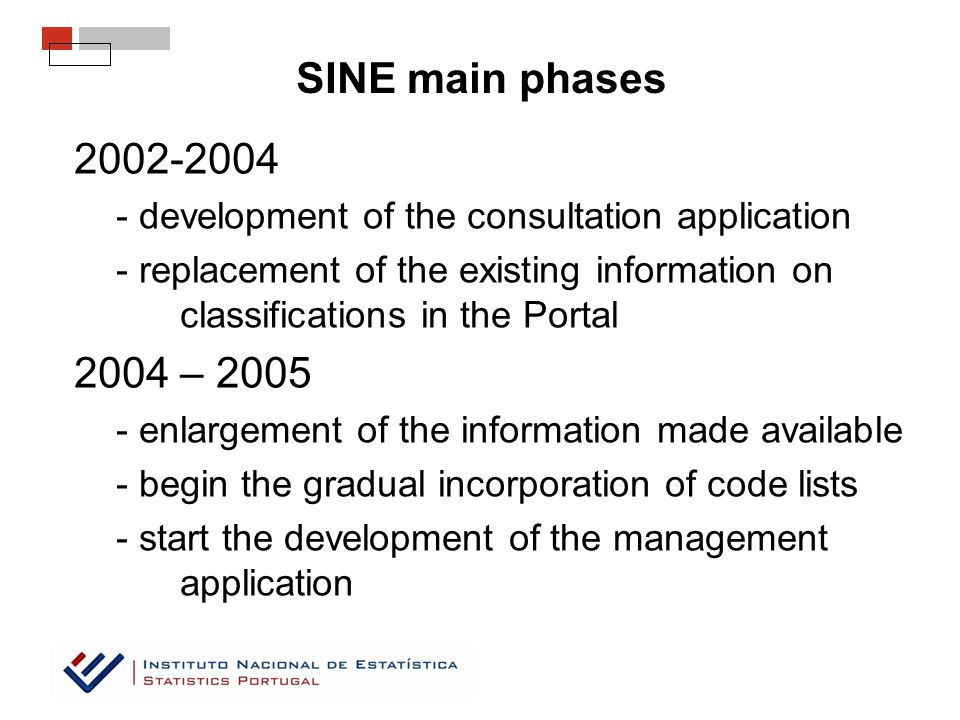 SINE main phases 2002-2004 - development of the consultation application - replacement of the existing information on classifications in the Portal 2004 – 2005 - enlargement of the information made available - begin the gradual incorporation of code lists - start the development of the management application