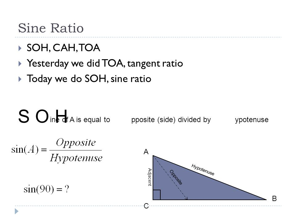 Sine Ratio  SOH, CAH, TOA  Yesterday we did TOA, tangent ratio  Today we do SOH, sine ratio A C B Opposite Adjacent Hypotenuse SOH ine of A is equal topposite (side) divided byypotenuse