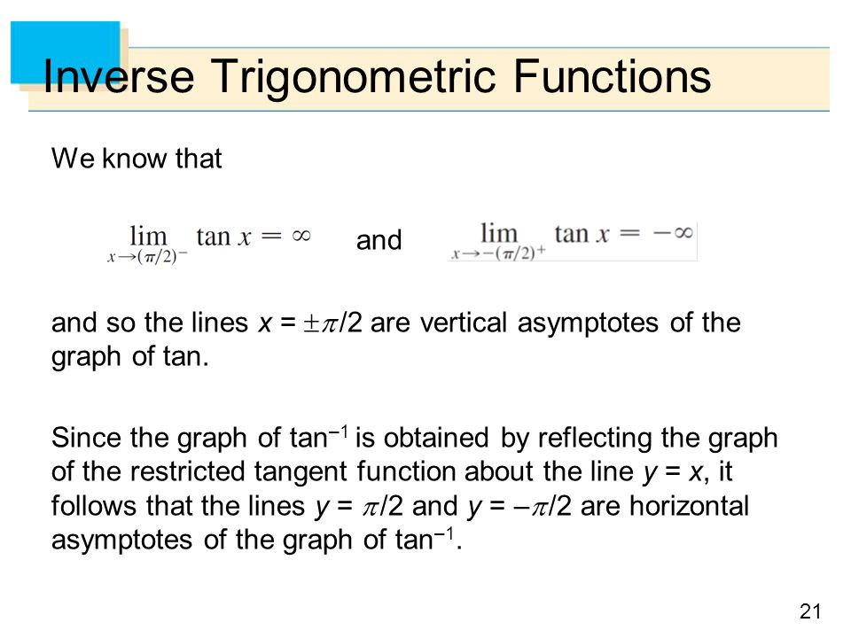 21 Inverse Trigonometric Functions We know that and and so the lines x =  /2 are vertical asymptotes of the graph of tan.
