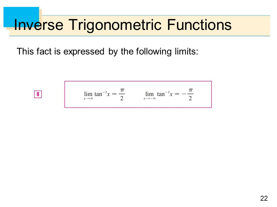 22 Inverse Trigonometric Functions This fact is expressed by the following limits: