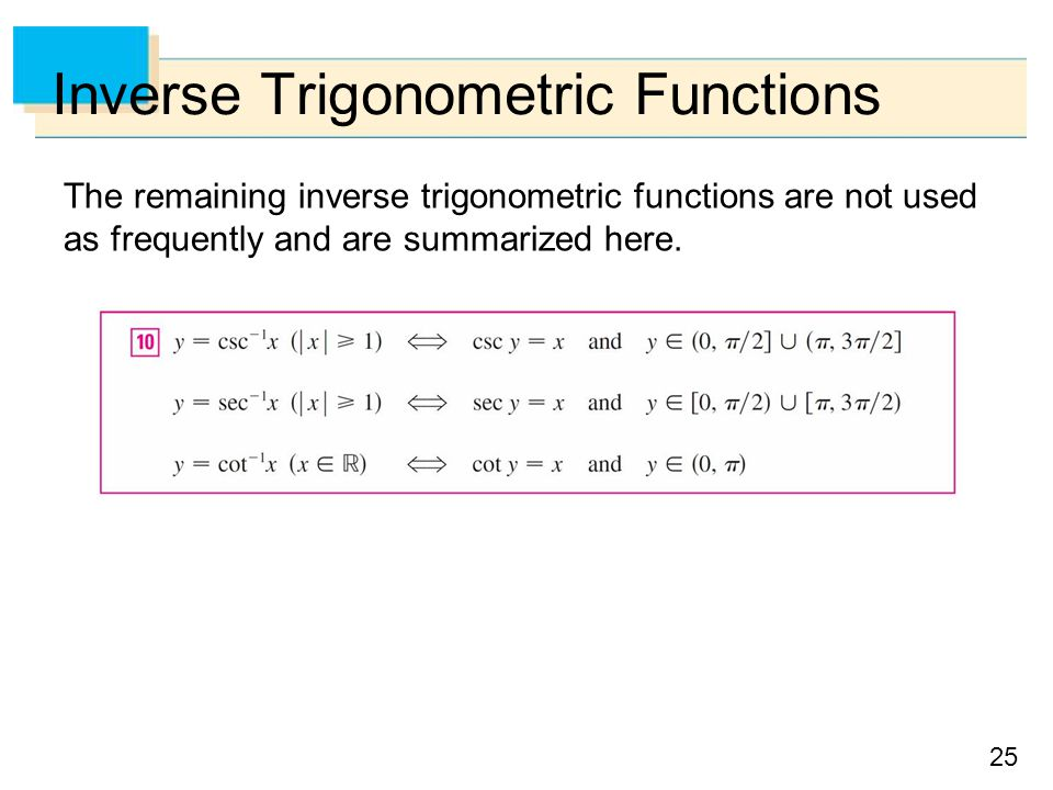 25 Inverse Trigonometric Functions The remaining inverse trigonometric functions are not used as frequently and are summarized here.