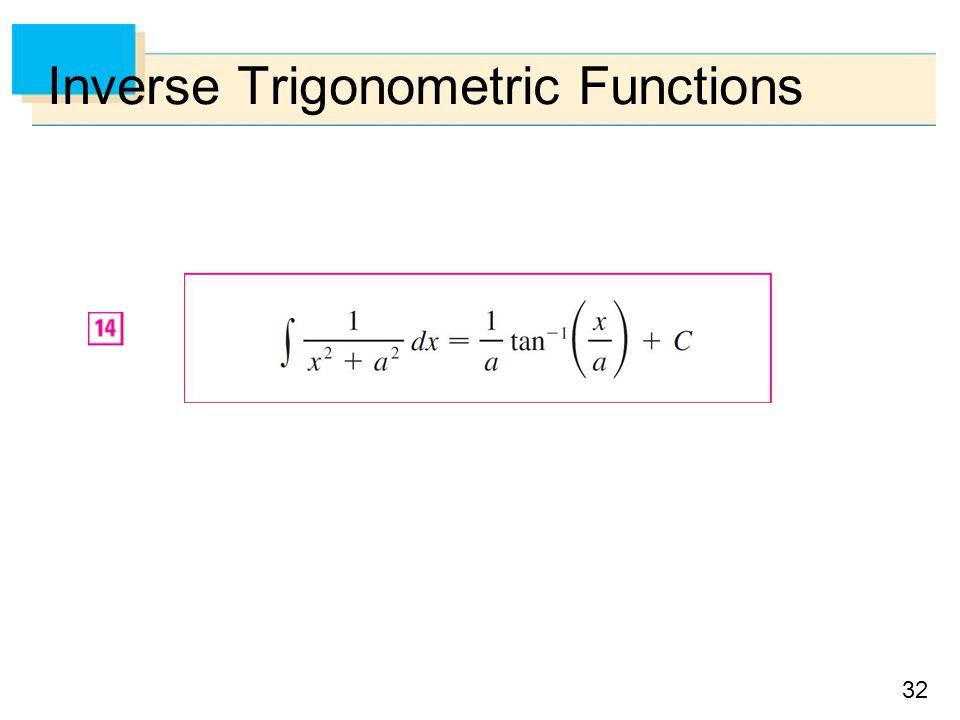 32 Inverse Trigonometric Functions