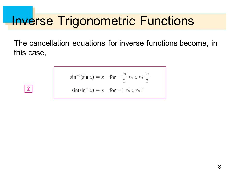 8 Inverse Trigonometric Functions The cancellation equations for inverse functions become, in this case,