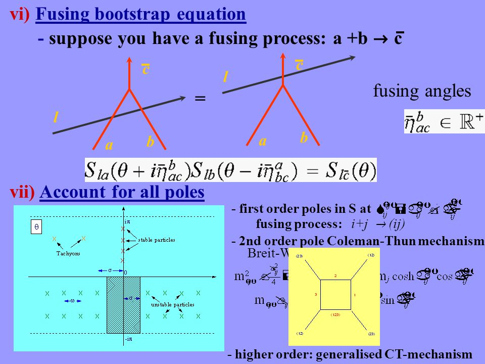 vi) Fusing bootstrap equation = ll fusing angles a c b a c b - suppose you have a fusing process: a +b  c vii) Account for all poles - first order po