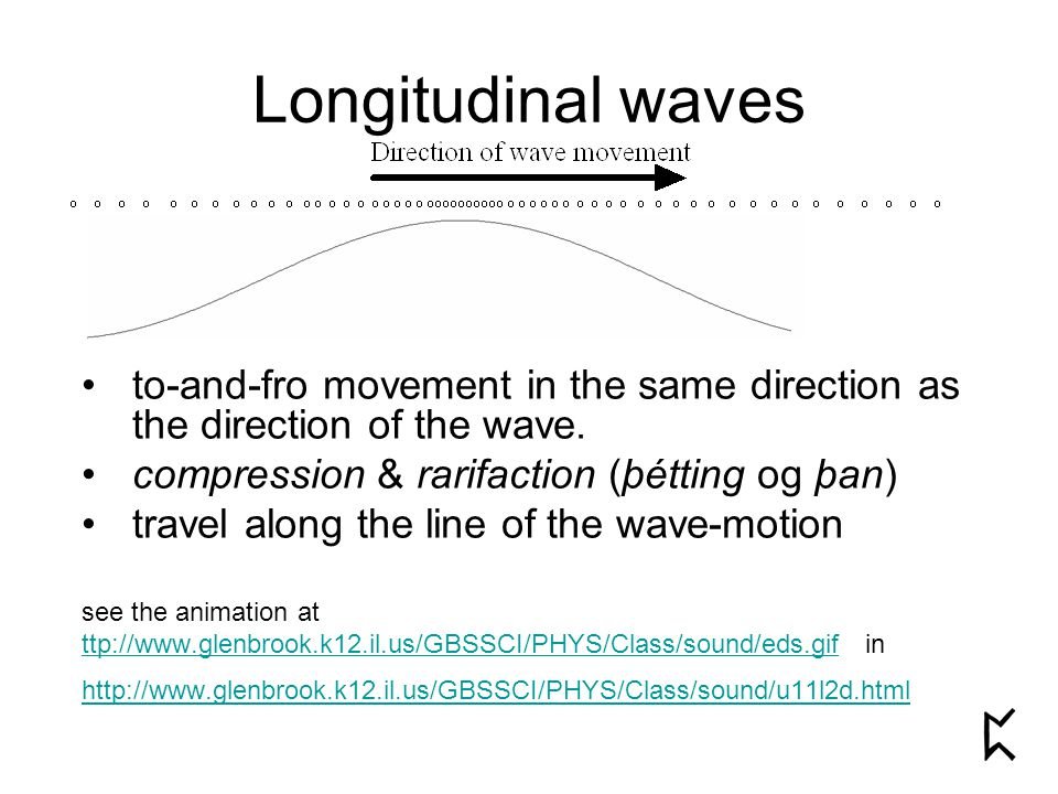 Longitudinal waves to-and-fro movement in the same direction as the direction of the wave. compression & rarifaction (þétting og þan) travel along the