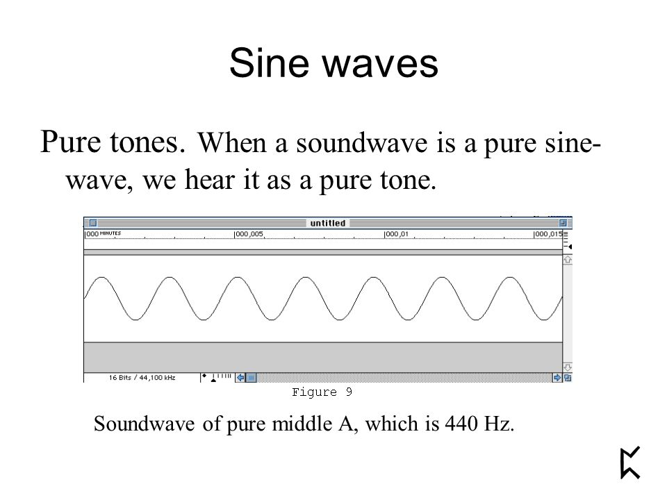 Sine waves Pure tones. When a soundwave is a pure sine- wave, we hear it as a pure tone. Soundwave of pure middle A, which is 440 Hz.