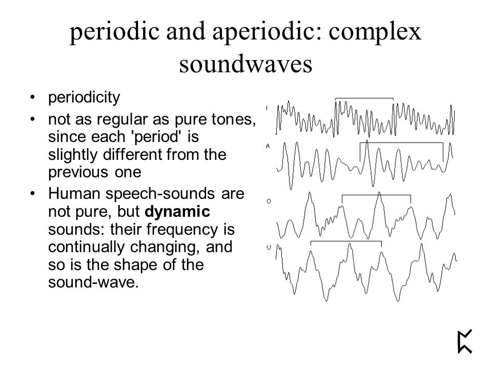periodic and aperiodic: complex soundwaves periodicity not as regular as pure tones, since each period is slightly different from the previous one Human speech-sounds are not pure, but dynamic sounds: their frequency is continually changing, and so is the shape of the sound-wave.