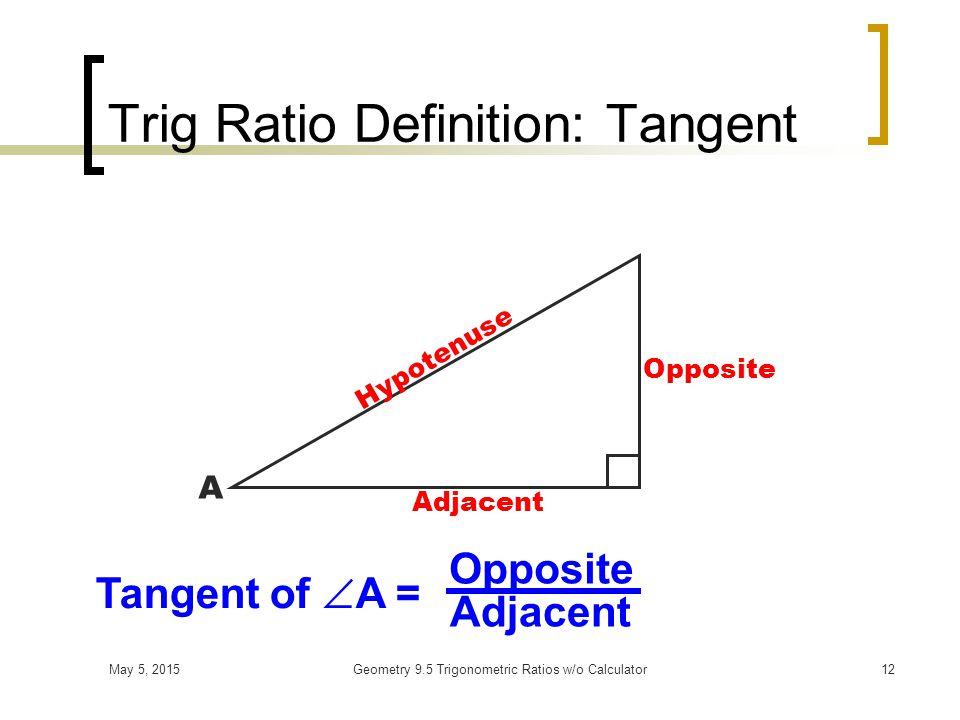 May 5, 2015Geometry 9.5 Trigonometric Ratios w/o Calculator11 Trig Ratio Definition: Cosine Hypotenuse Adjacent Opposite A Cosine of  A = Adjacent Hypotenuse