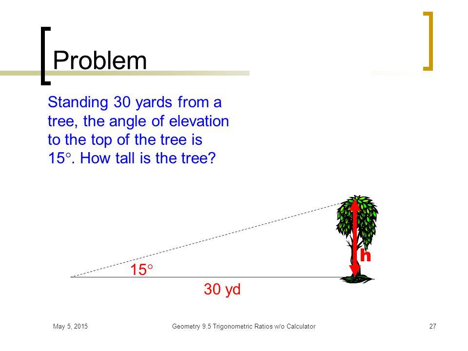 May 5, 2015Geometry 9.5 Trigonometric Ratios w/o Calculator26 Angle of Depression Horizontal Angle of Depression