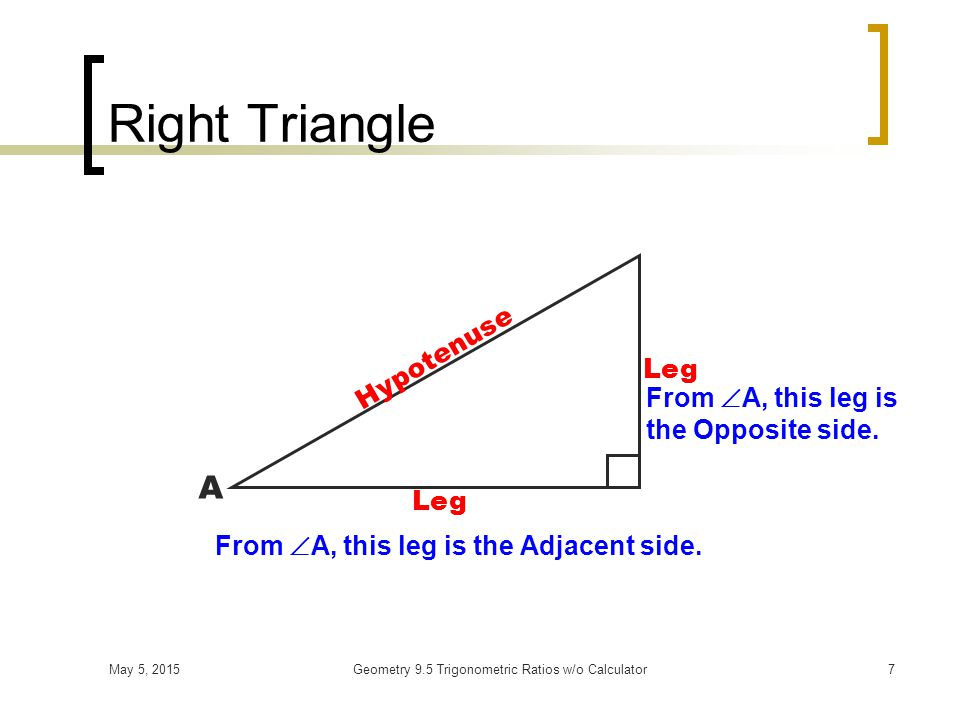 May 5, 2015Geometry 9.5 Trigonometric Ratios w/o Calculator7 Right Triangle Hypotenuse Leg A From  A, this leg is the Adjacent side.