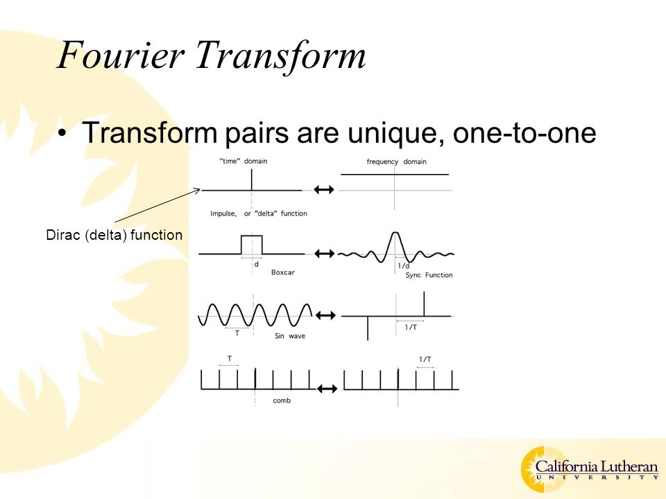 Fourier Transform Transform pairs are unique, one-to-one Dirac (delta) function