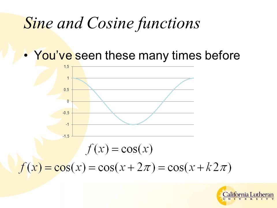Sine and Cosine functions You've seen these many times before
