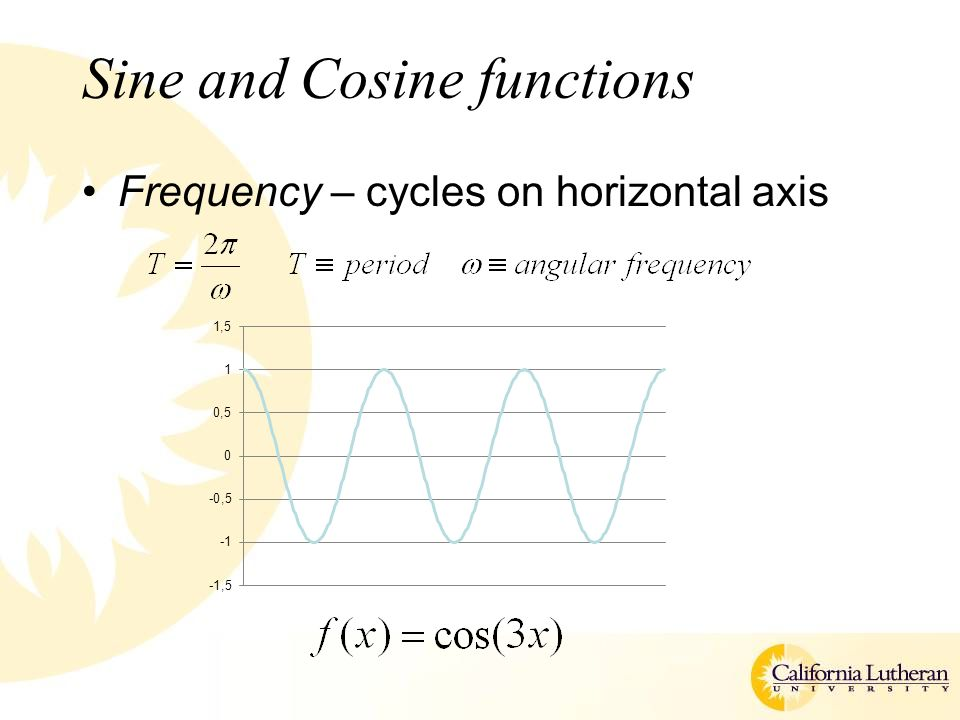 Sine and Cosine functions Frequency – cycles on horizontal axis