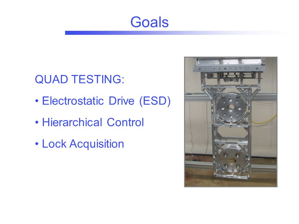 Goals QUAD TESTING: Electrostatic Drive (ESD) Hierarchical Control Lock Acquisition