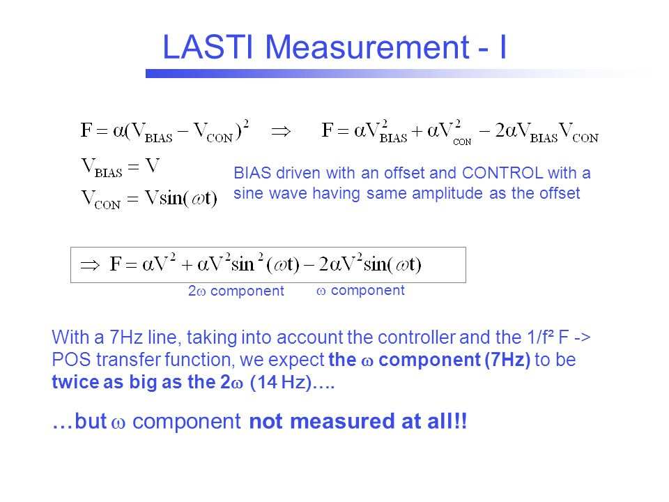 LASTI Measurement - I BIAS driven with an offset and CONTROL with a sine wave having same amplitude as the offset With a 7Hz line, taking into account the controller and the 1/f² F -> POS transfer function, we expect the  component (7Hz) to be twice as big as the 2  (14 Hz)….