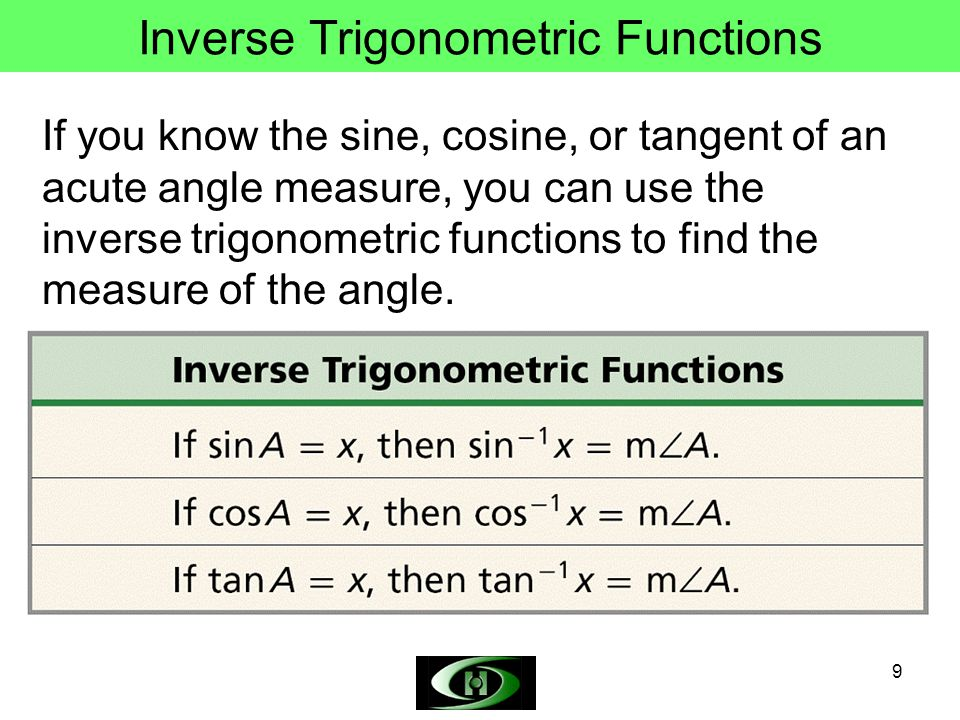 9 Inverse Trigonometric Functions If you know the sine, cosine, or tangent of an acute angle measure, you can use the inverse trigonometric functions to find the measure of the angle.