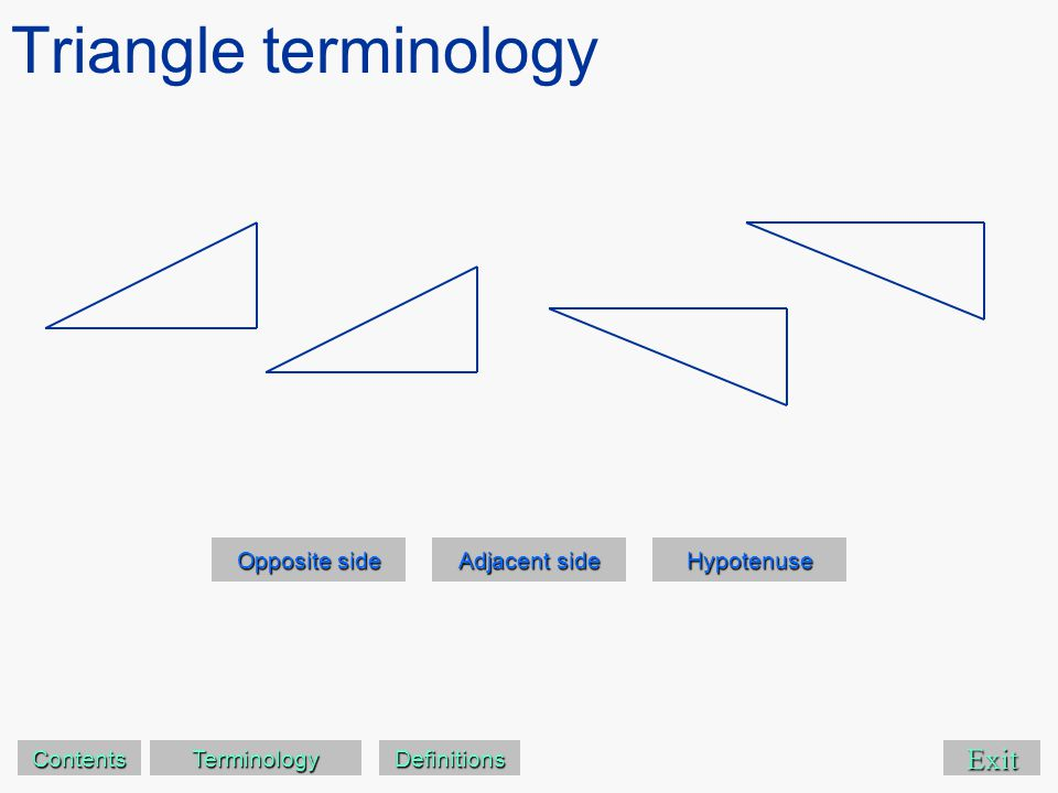 Triangle terminology Exit Opposite side Opposite side Adjacent side Adjacent side Hypotenuse Contents Terminology Definitions