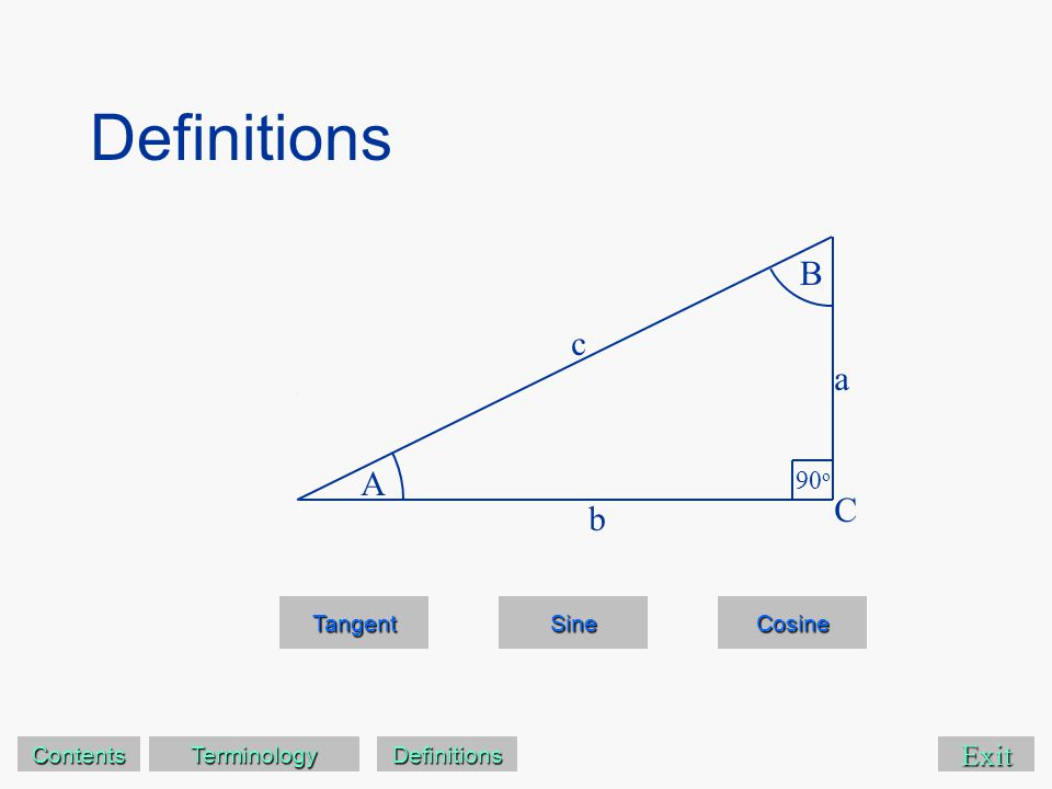 Exit clear Sine Cosine A B 90 o C a c b tan(A) = tan(B) Tangent of angle A opposite adjacent abab = Contents Terminology Definitions