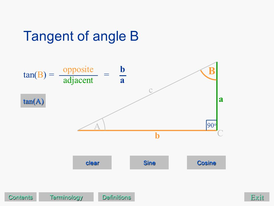 Tangent of angle B Exit clear Sine Cosine A B 90 o C a c b tan(B) = tan(A) opposite adjacent baba = Contents Terminology Definitions