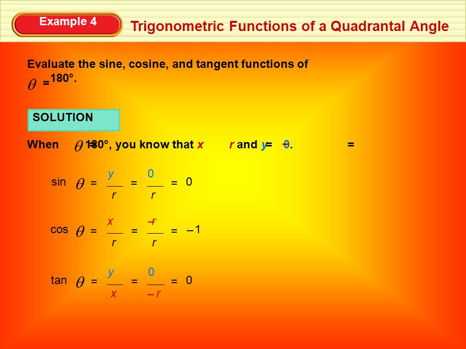 Example 4 Trigonometric Functions of a Quadrantal Angle Evaluate the sine, cosine, and tangent functions of 180°. =  SOLUTION When 180°, you know tha